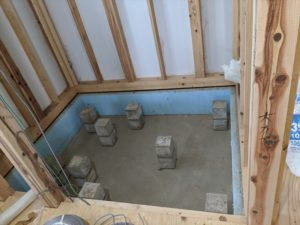 浴室の床下と束石
